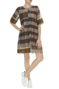 Checkered linen dress