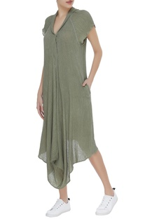 Cotton asymmetric crinkled tunic