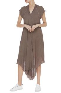 Crinkled cotton asymmetric tunic
