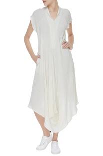 Asymmetric cotton tunic