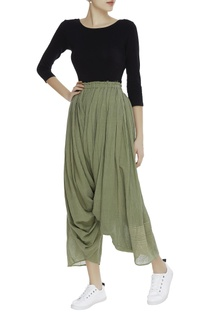 Pleated draped khadi pants