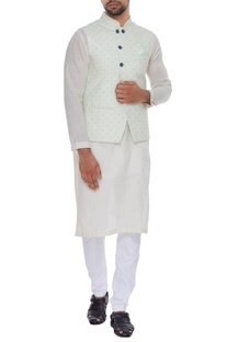Polka dot printed nehru jacket