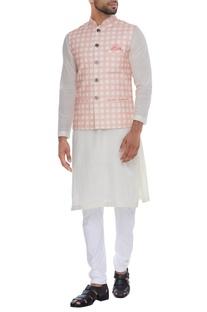 Checkered print nehru jacket