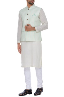 Stripped nehru jacket