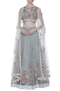 Lace & tulle hand embroidered lehenga set