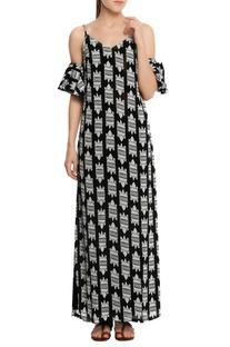 Cold-shoulder crocodile printed maxi dress