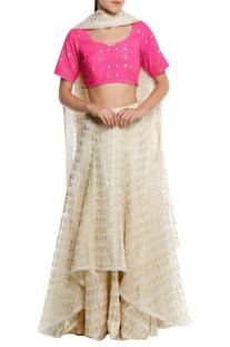 Chanderi high-low lehenga with blouse & dupatta