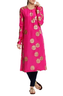 Silk tribal vase foil printed kurta