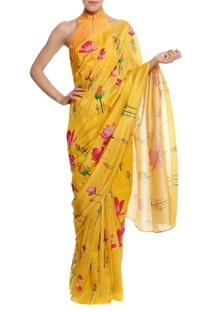 Silk floral printed sari with blouse piece