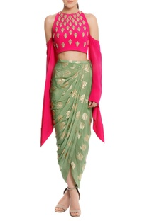 Pure crepe embellished blouse with heritage fish printed dhoti skirt