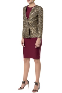 Gold sequin embroidered blazer jacket