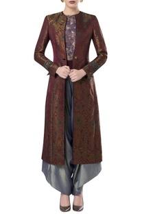 Long brocade open jacket