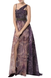 Printed gown with spaghetti sleeves