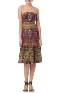 Printed strapless midi dress