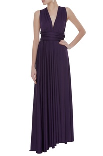 Knit draped pleated gown
