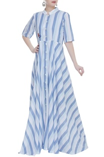 Long stripe jacket with short dress
