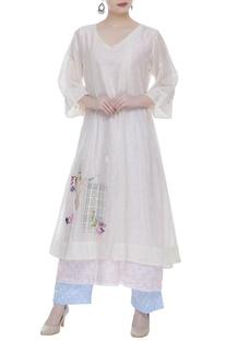 Chanderi kurta with floral print slip & polka dot pants