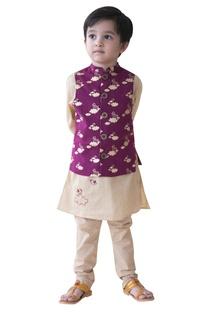 Cloud & bird printed nehru jacket set