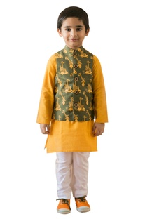 Comic jungle print nehru jacket kurta set