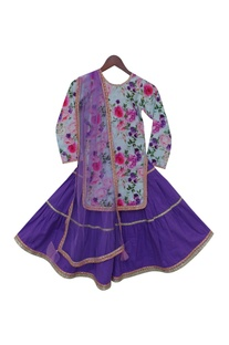 Floral print kurta with embroidered sharara