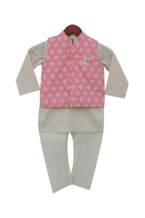 Cotton silk kurta & chuidar with embroidered jacket