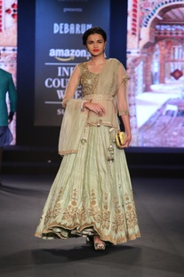 Gold zari embroidered lehenga with blouse and dupatta