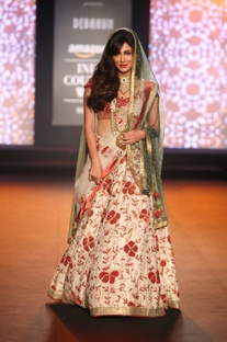 Applique work lehenga with blouse and embroidered dupatta