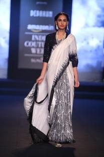 Block printed sari with blouse