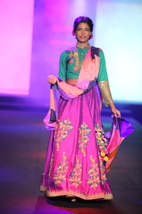 Floral embroidered lehenga with blouse and dupatta