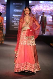 Embroidered lehenga with dupatta and blouse
