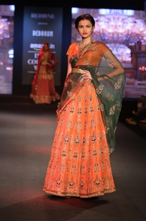 Hand embroidered lehenga with blouse and dupatta