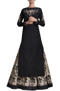 Embroidered kurta with printed skirt