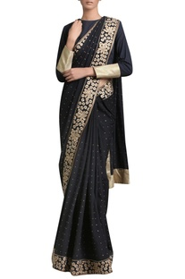Golden embroidered sari with blouse