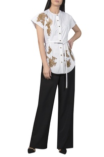 Golden patchwork shirt with waist tie-up