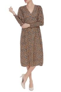Leopard printed smocked dress