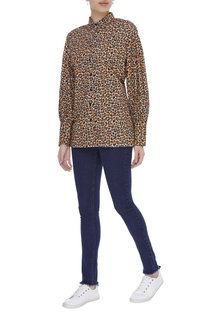 Leopard printed button down shirt