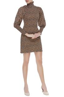 Leopard printed midi dress
