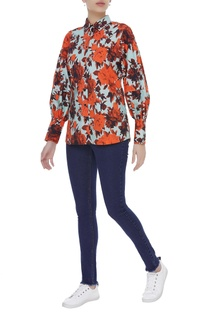 Floral print button down shirt