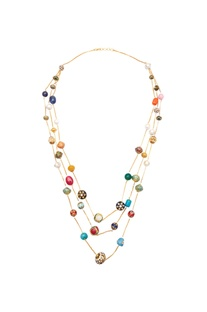 Meenakari bead tiered necklace