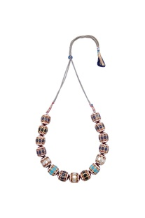 Boho necklace with multi-faceted beads