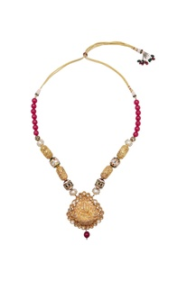 Temple pendant & multi-faceted bead long necklace