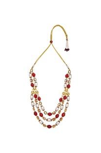Pearl & polki bead long necklace
