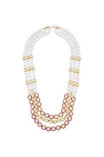 Pearl & kundan work tiered necklace