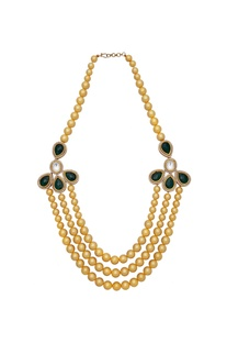 Polki bead & pearl long necklace