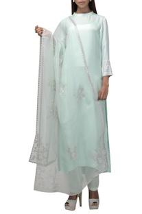 High neck kurta with tapered pants & dupatta