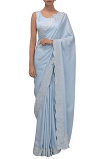 Embellished silk satin sari with sleeveless blouse
