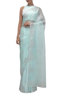 Silk organza & satin sari with sleeveless blouse