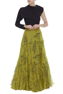 Coin work embroidered skirt