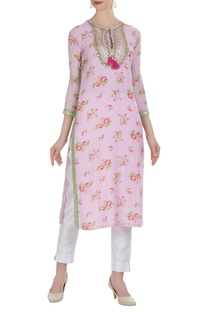 Long printed kurta with embroidered yoke