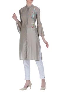 Shirt style kurti with mirror dori work